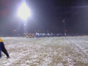 The Negaunee Miners and Calumet Copper Kings on a snowy field in Negaunee on Friday, November 2nd, 2012. Sunny 101.9 WKQS-FM