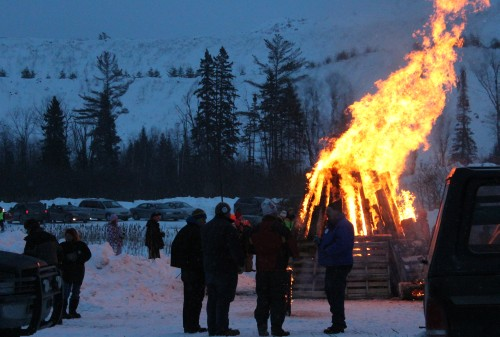Bonfires helped people stay warm all evening long at Suicide Hill Ishpeming