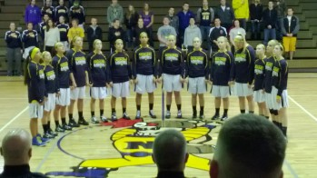 The Negaunee Miners and Marquette Redettes on the court in Negaunee on Saturday, February 23rd, 2013 on Sunny 101.9 WKQS-FM
