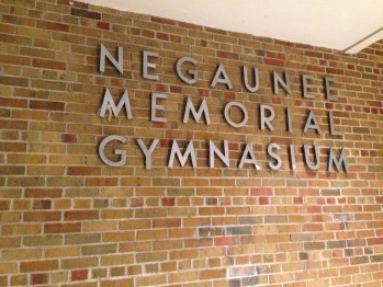 An outside view of the historic Negaunee Memorial Gymnasium, where the Miners haven't lost a game in over two years.
