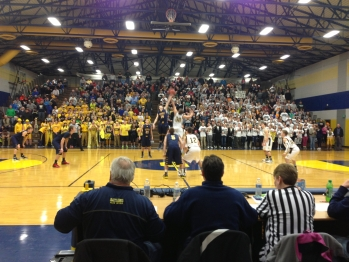 The Miners tip off against the Lakers in front of a full house. Negaunee came away with a 56-55 victory to keep their season alive.