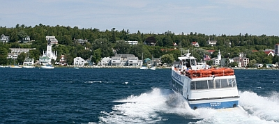 Summertime on the Straits of Mackinac with a ride to the big island on Shepler's Ferry.