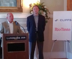 Cliffs' Dale Hemmila and Rio Tinto's Matt Johnson announce the new agreement  this morning ion Marquette.