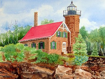 Sand Island Light of the Apostles by Marjorie Carlson