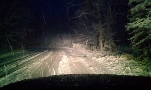 A wild, slippery, wet snow ride home last week in Negaunee Township