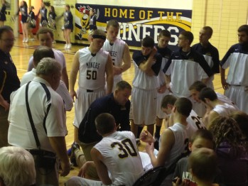 The Miners in the huddle getting instructions before taking on Westwood